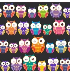 Seamless pattern - bright colorful owls on black vector image vector image