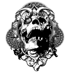 Wicked skull shield illustration vector