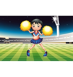 A cheerer with a yellow pompom vector image vector image