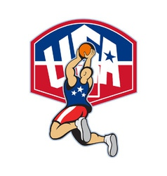 Basketball player shooting jumping ball vector