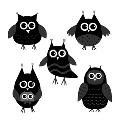 Cute owl set Big eyes Black icons on white Baby vector image vector image