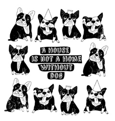 Dog French group bulldog home sign frame poster vector image vector image