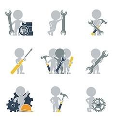 Flat people mechanics vector image vector image