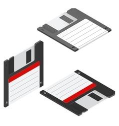 Floppy disc isometric icon set vector image