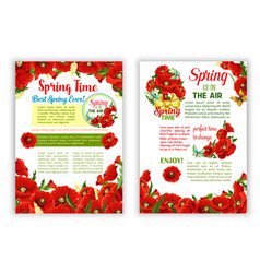 Flowers wreath of spring time quote posters vector