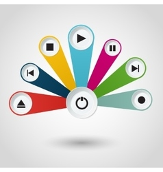 Imfographic with multimedia player buttons vector image