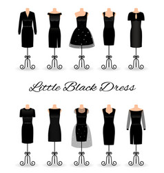 set of little black dresses on mannequins vector image