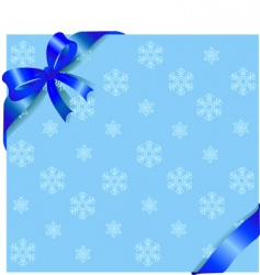 blue ribbon on winter background vector image vector image