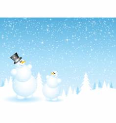father and son snowmen vector image vector image