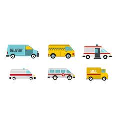 minivan icon set flat style vector image