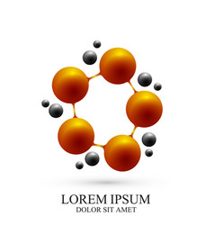 3d logotype icon dna and molecule template vector image