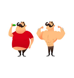 a fat guy and an athlete before and after doing vector image