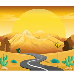 A winding road at the desert vector