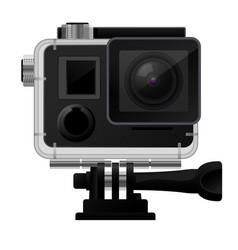 Action camera in waterprocase - sport cam icon vector