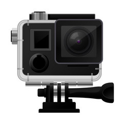 Action camera in waterproof case - sport cam icon vector