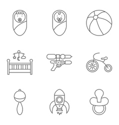 Baby related flat icon set vector image