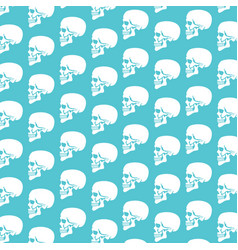 Background pattern with human skull profile vector