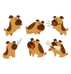 Barking dog canine animal pet with newspaper vector