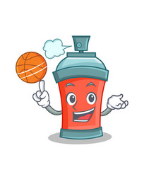 Basketball aerosol spray can character cartoon vector