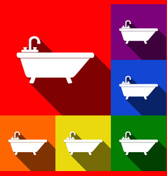 bathtub sign set of icons vector image vector image