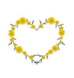 Beautiful Yellow Daisy Flowers in Heart Shape vector