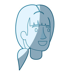 blue color silhouette shading of woman face with vector image