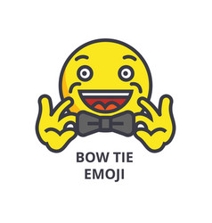 bow tie emoji line icon sign vector image