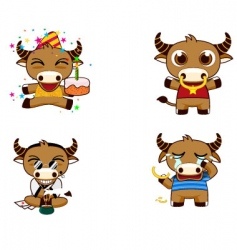 Buffalo cartoons vector