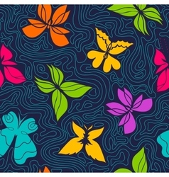 Butterflies and Waves Pattern vector