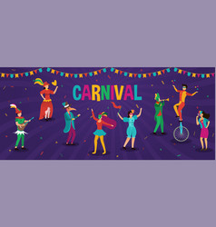 carnival banner with people in party costumes vector image