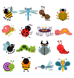 Cartoon bugs and insects set vector