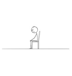 Cartoon drawing of lonely depressed man sitting vector