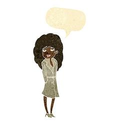 cartoon female spy with speech bubble vector image