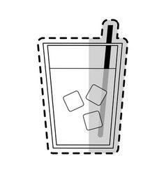 Clear beverage with ice and straw icon image vector