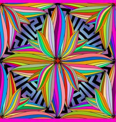 colorful floral greek mandala seamless pattern vector image