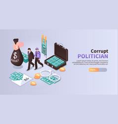 Corrupt politician horizontal banner vector