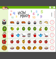 Counting task for children with food objects vector
