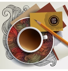 Cup of coffee business cards and ornaments vector