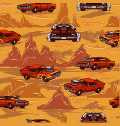 custom cars colorful vintage seamless pattern vector image