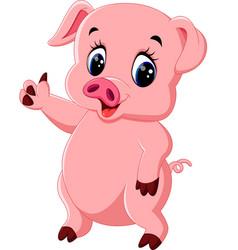 cute pig cartoon posing vector image