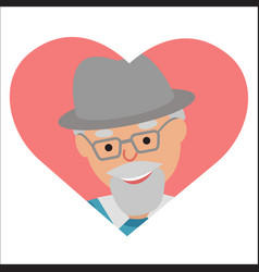 drawing of icon elderly man in the pink vector image