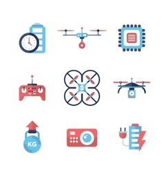 Drones - flat design icons set vector image