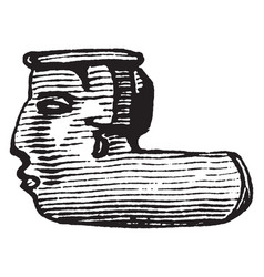 Earthen pipe depicting a face made by native vector
