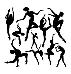 energetic female ballet dancer silhouettes vector image