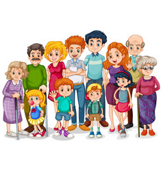 Family members with children and all relatives vector