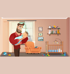 father holding son at home interior child room vector image