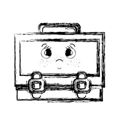 figure kawaii cute surprised suitcase design vector image