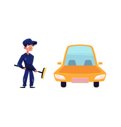 flat mechanic boy with broom near car vector image