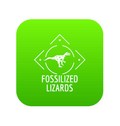 Fossilized lizard icon green vector