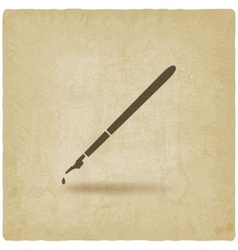 fountain pen with ink drop old background vector image